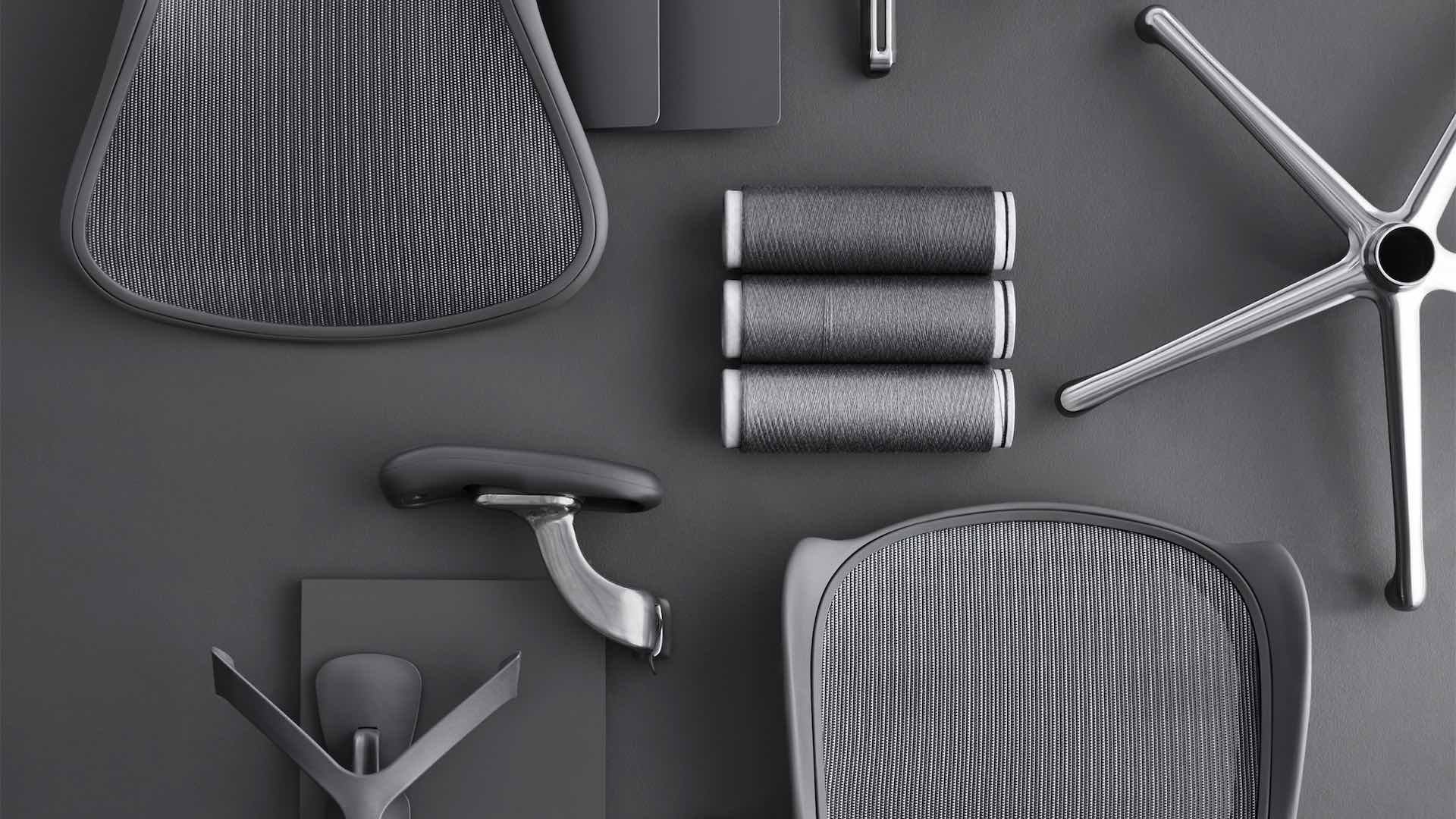 Individual parts of the ergonomic office chair Aeron.